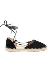 Iris And Ink Woman Lace Up Suede Leather Espadrilles Black