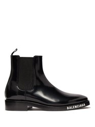 Balenciaga Logo Debossed Patent Leather Chelsea Boots Black