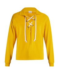 Bliss And Mischief Ohara Lace Up Cotton Blend Sweatshirt Yellow