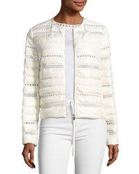 Moncler Stellaire Quilted Lace Trim Jacket White