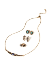 Forever 21 Bib And Feather Jewelry Set Gold Black
