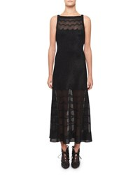 Alaia Squiggled Knit Illusion Dress Black
