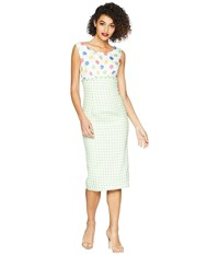 Unique Vintage Barbie X Uv Lunch On The Terrace Dress Mint Gingham Multi Polka Dot White