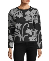 Magaschoni Jacquard Wool Blend Pullover Sweater Black Pattern