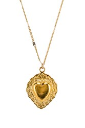 Natalie B Sacred Heart Necklace Metallic Gold