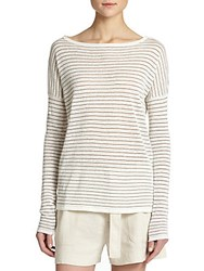 Vince Striped Boatneck Sweater Off White