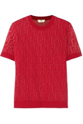 Fendi Intarsia Knit Cotton Blend Sweater Red