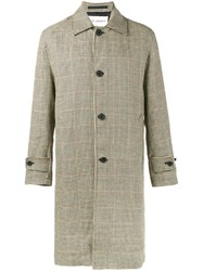 Our Legacy Houndstooth Check Coat Men Linen Flax Viscose 52 Brown