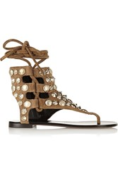 Giuseppe Zanotti Studded Suede Sandals Brown