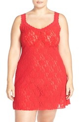 Plus Size Women's Hanky Panky Stretch Lace Chemise Red