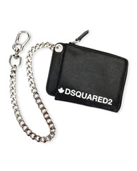 Dsquared Logo Typographic Leather Chain Wallet Black White