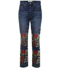 Junya Watanabe Embroidered Jeans Blue