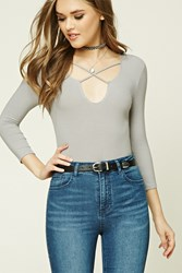 Forever 21 Ribbed Strappy Front Bodysuit