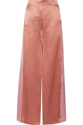 Valentino Two Tone Hammered Satin Wide Leg Pants Copper