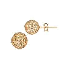 Lord And Taylor 14K Yellow Gold Mesh Ball Earrings