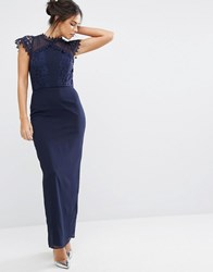 Elise Ryan Maxi Dress With Delicate Lace Trim Navy