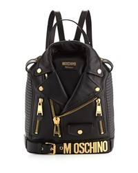 Lambskin Moto Jacket Backpack Black Gold Moschino