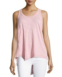 Jethro Twist Knit Tank Top W Patch Pocket Misty Rose