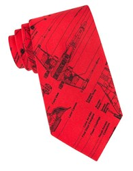 Star Wars X Wing Fighter Blue Print Tie Red