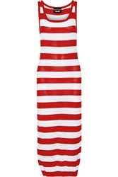Boutique Moschino Striped Pointelle Knit Cotton Midi Dress
