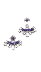 Dannijo Dawson Earrings Silver Crystal Royal Blue