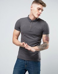 Brave Soul Plain Jersey Contast Inside Placket Polo Charcoal Grey