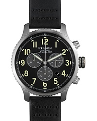 Filson The Mackinaw Field Chronograph Leather Strap Watch 43Mm Black