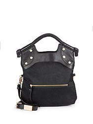 Foley Corinna Leather And Calf Hair Tote Bag Black