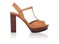 Chloe Women's Leather T Strap Platform Sandals Brown