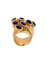 Saint Laurent Cluster Stone Ring Gold