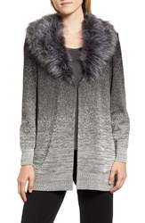 Ming Wang Faux Fur Trim Knit Jacket Black Granite Ivory