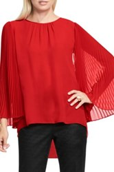 Vince Camuto Pleated Chiffon Sleeve Blouse Petite Red