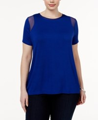 Inc International Concepts Plus Size Mesh Inset T Shirt Only At Macy's Goddess Blue