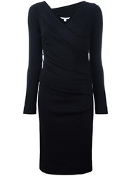 Diane Von Furstenberg Crossover V Neck Fitted Dress Black