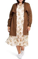 Elvi Plus Size Reo Drawstring Side Trench Coat Brown