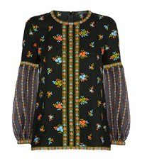 Andrew Gn Embroidered Balloon Sleeve Top Female Black