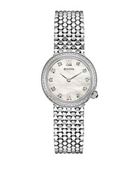 Bulova Diamond And Silvertone Stainless Steel Watch