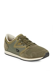 Diesel Leather Trimmed Sneakers Olive Green