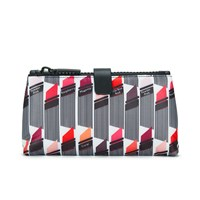 Lulu Guinness Women's Lipstick Print Double Make Up Bag White Black