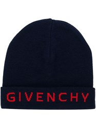 Givenchy Embroidered Logo Beanie Blue