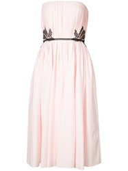 J. Mendel Lace Trimmed Pleated Gown Women Cotton 8 Pink Purple