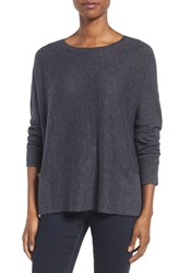 Eileen Fisher Women's Organic Linen And Cotton Slub Knit Pullover Charcoal
