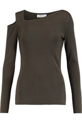 Bailey 44 Cutout Ribbed Wool Sweater Army Green