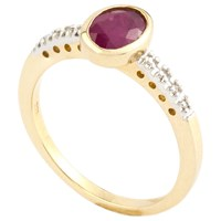 A B Davis 9Ct Gold Oval Rubover Diamond Shoulder Ring Ruby