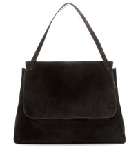 The Row Top Handle 14 Suede Shoulder Bag Black