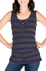 Nom Maternity Women's Henley Tank Top Navy Charcoal