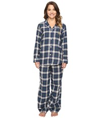 Lauren Ralph Lauren Petite Folded Brushed Twill Pajama Plaid Cream Blue Green Women's Pajama Sets