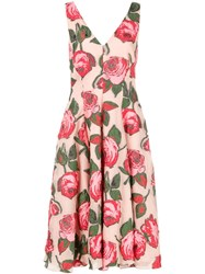 Lela Rose Print Midi Dress Pink