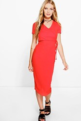 Boohoo Ribbed Cap Sleeve Midi Dress Red
