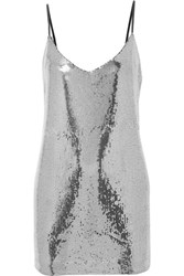 Rta Bijoux Sequined Crepe De Chine Mini Dress Silver